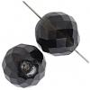 Fire polished Beads 18mm Transparent Dark Black Diamond